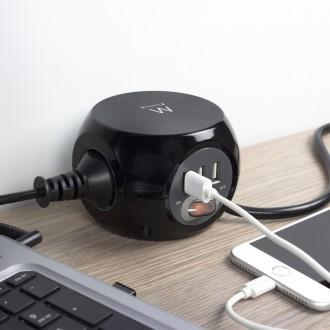 EW3938 Multipresa a Cubo 3 posti con caricatore USB
